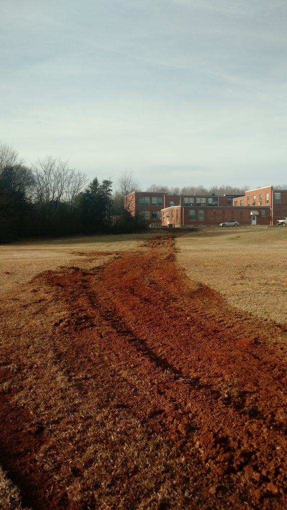 Water supply line buried @ Carver greenhouse project by Culpeper County